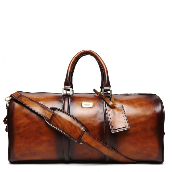 Brune Veg Tanned Tan Hand Painted Leather Duffle Bag With Golden Accent