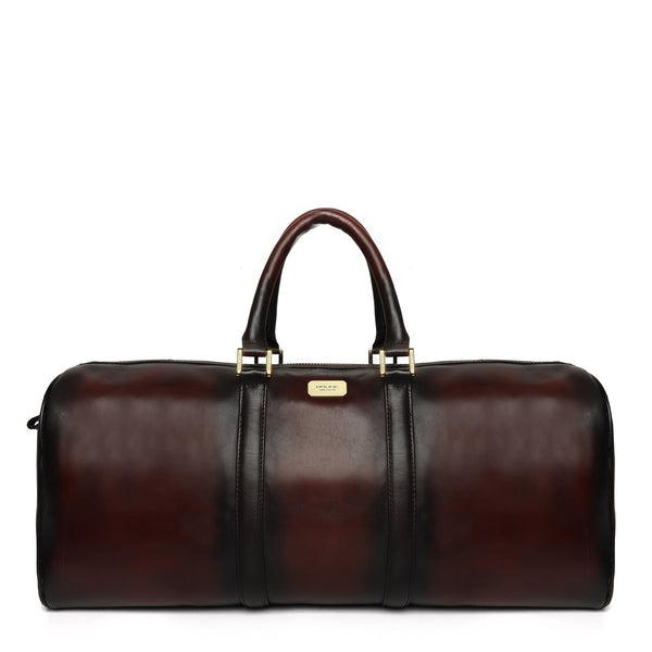 Brune Veg Tanned Dark Brown Hand Painted Leather Duffle Bag With Golden Accent