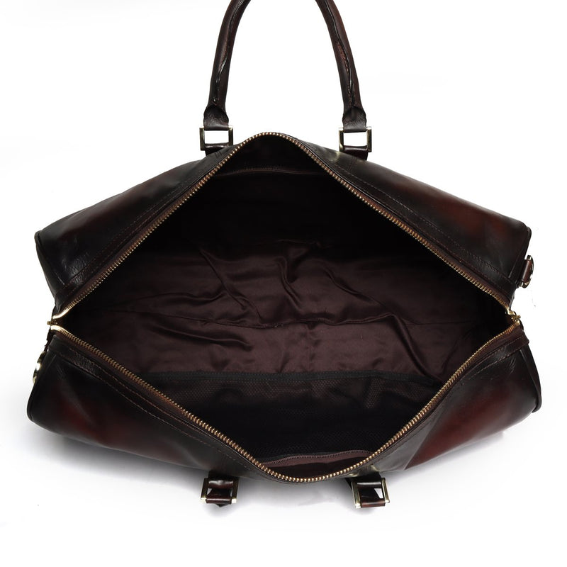 Brune Veg Tanned Brown Dual Shade Hand Painted Duffle With Golden Accent