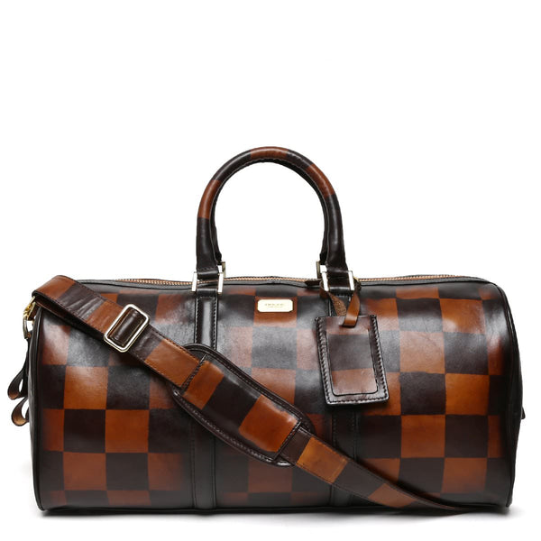 Brune Veg Tanned Leather Hand Painted Duffle Bag With Check Accent