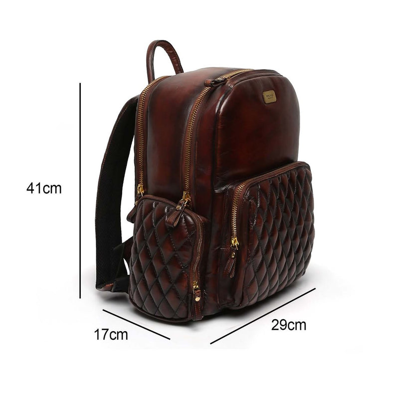 Brown Leather Diamond Stitched Classic Backpack By BRUNE