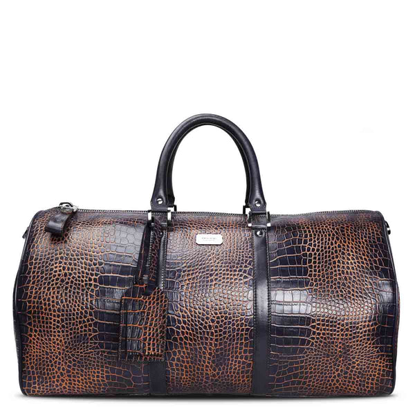 Brune Veg Tanned Croco Printed Hand Painted Leather Duffle