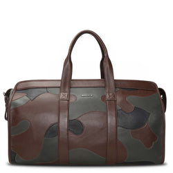 Brune Leather Patchwork Camouflage design Duffle bag