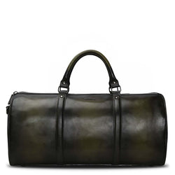Brune Hi-Veg Tanned Olive/Black Dual Shade Hand Painted Duffle Bag