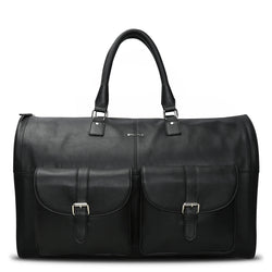 Brune Black Color Genuine Leather Garment Duffle Bag