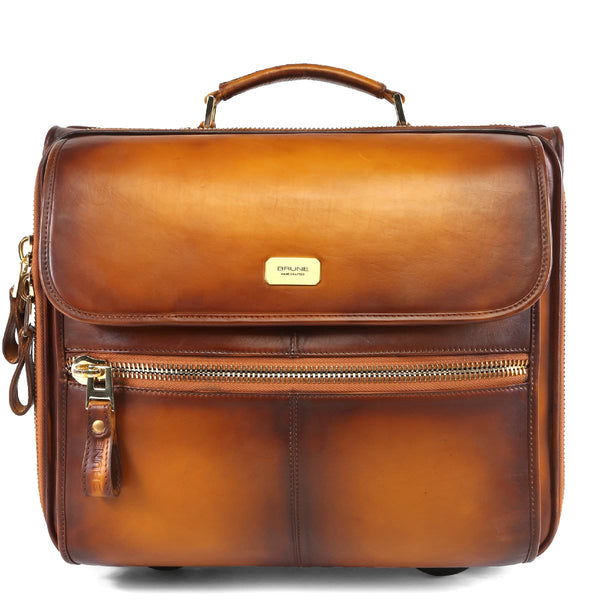 Brune Burnished Tan Hand Painted Strolley Bag/Cabin Luggage