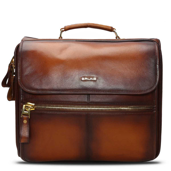 BRUNE TWO-TONE TAN HAND PAINTED STROLLEY BAG / CABIN LUGGAGE