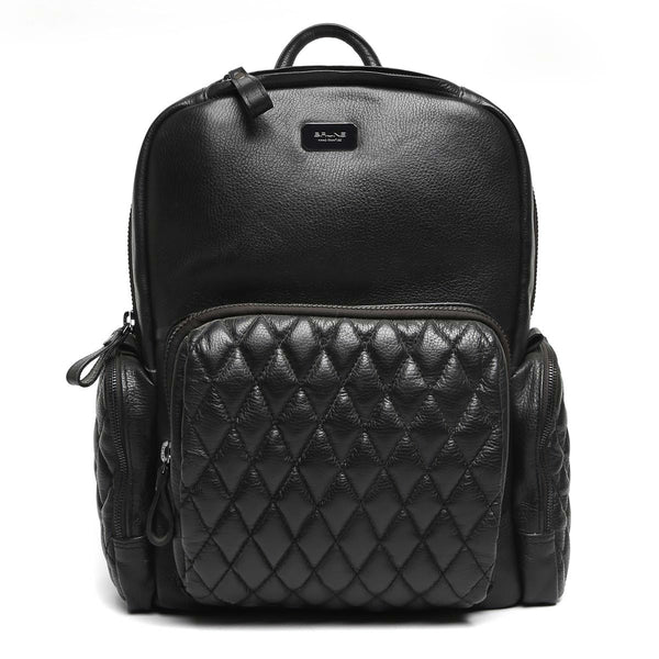 Brune Black Leather Backpack/Laptop Bag With Black Zip