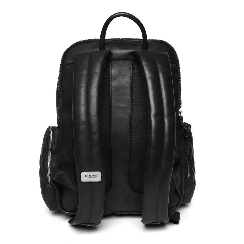 Brune Thin Zip Black Classic Hi-Veg Tanned Hand Painted Leather Backpack/Laptop Bag