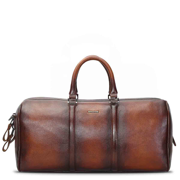 Brune Brown Hand Painted Leather Large Duffle Bag