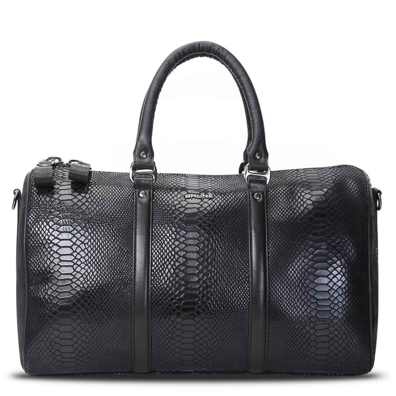 Brune Black Colour Snake Print Genuine Leather Duffle Bag
