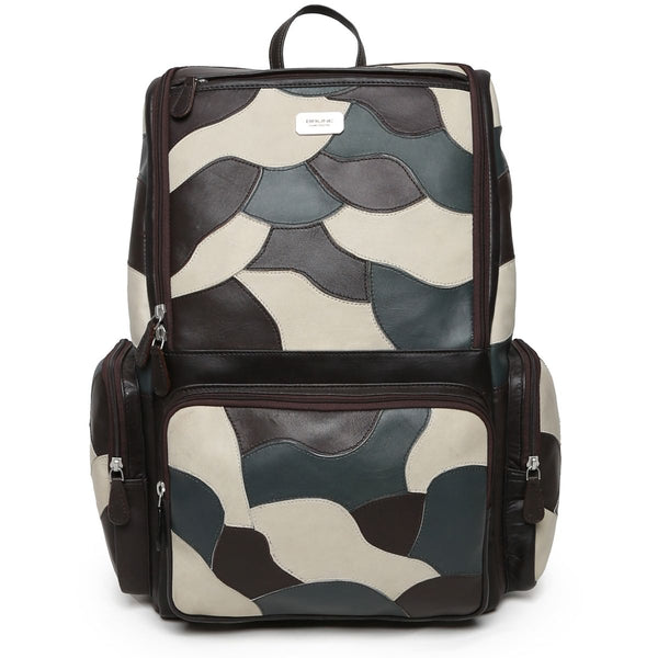 Dark Brown Camo Unisex Leather Laptop Travel Backpack By Brune