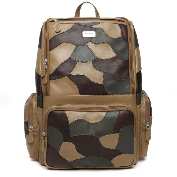 Dark Beige Camo Unisex Leather Laptop Travel Backpack By Brune