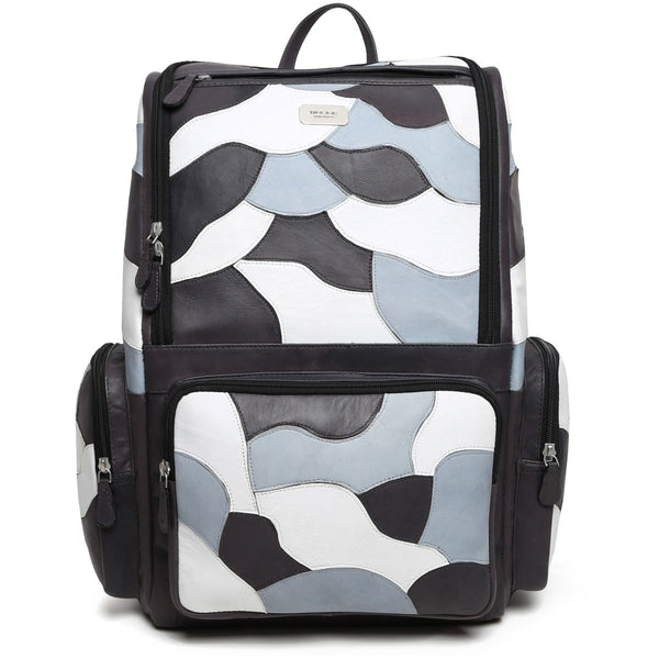 Grey Camo Unisex Leather Laptop Travel Backpack By Brune