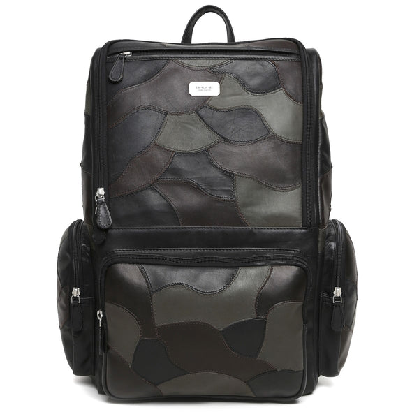 Black Camo Unisex Leather Laptop Travel Backpack By Brune