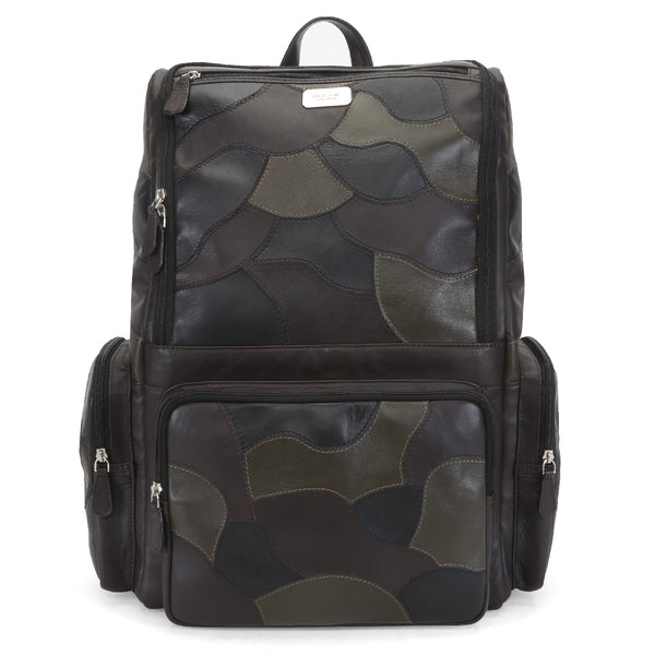 Brune Camouflage Tri-Color Genuine Leather Laptop Backpack For Men