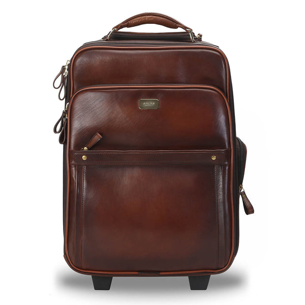 Brune Two-Tone Brown Hand Painted Leather Cabin Luggage