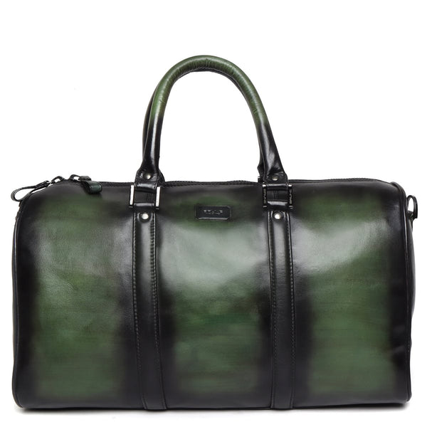 Brune Olive Green Hand Painted Veg Tanned Leather Duffle Bag
