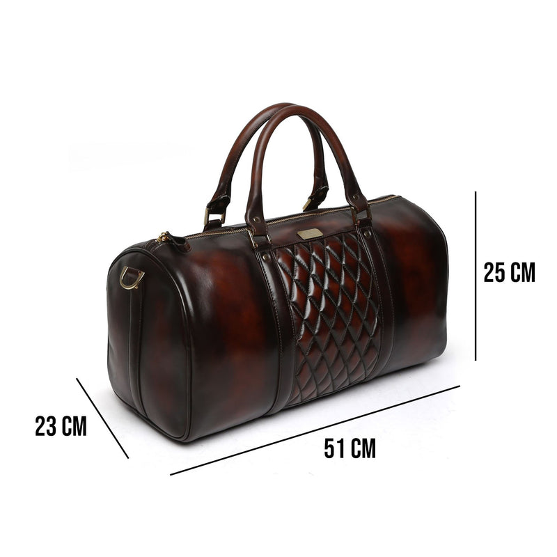 BRUNE BROWN COLOR GENUINE LEATHER DUFFLE BAG FOR MEN
