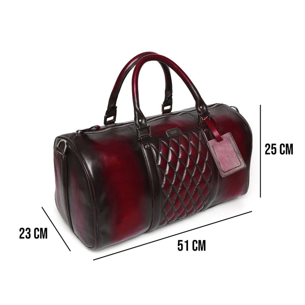 BRUNE WINE COLOR GENUINE LEATHER DUFFLE BAG FOR MEN