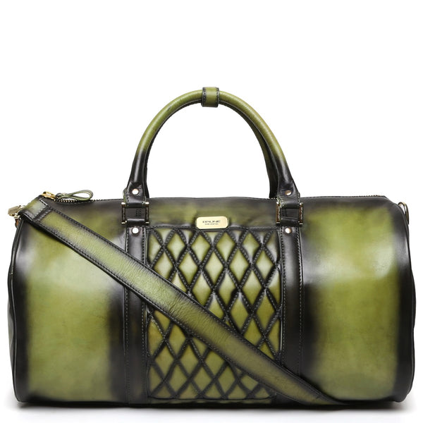 Brune Olive Green With Golden Accessories Genuine Leather Duffle Bag For Men