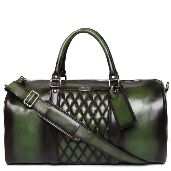 Brune Green Color Genuine Leather Duffle Bag For Men