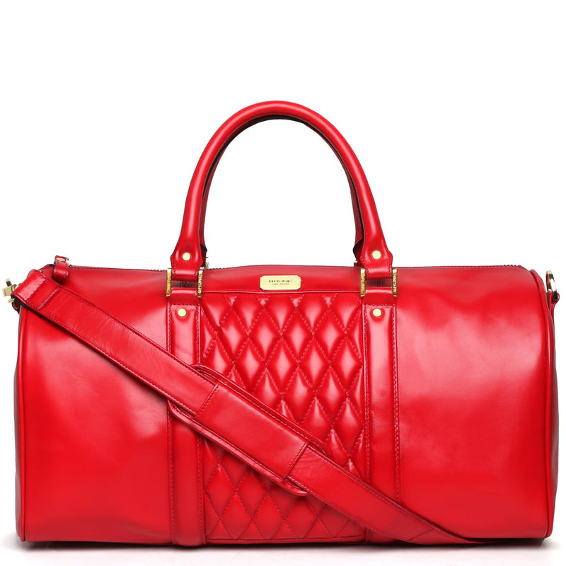 Brune Pink Color Genuine Leather Duffle Bag