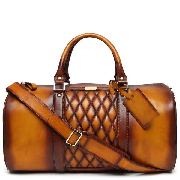 Brune Tan Color Genuine Leather Duffle Bag For Men