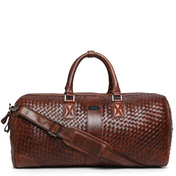 Brune Brown Two-Tone Leather Woven Detailed Duffle Bag