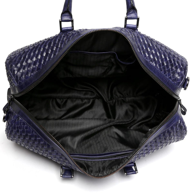 Brune Blue Leather Woven Detailed Duffle Bag