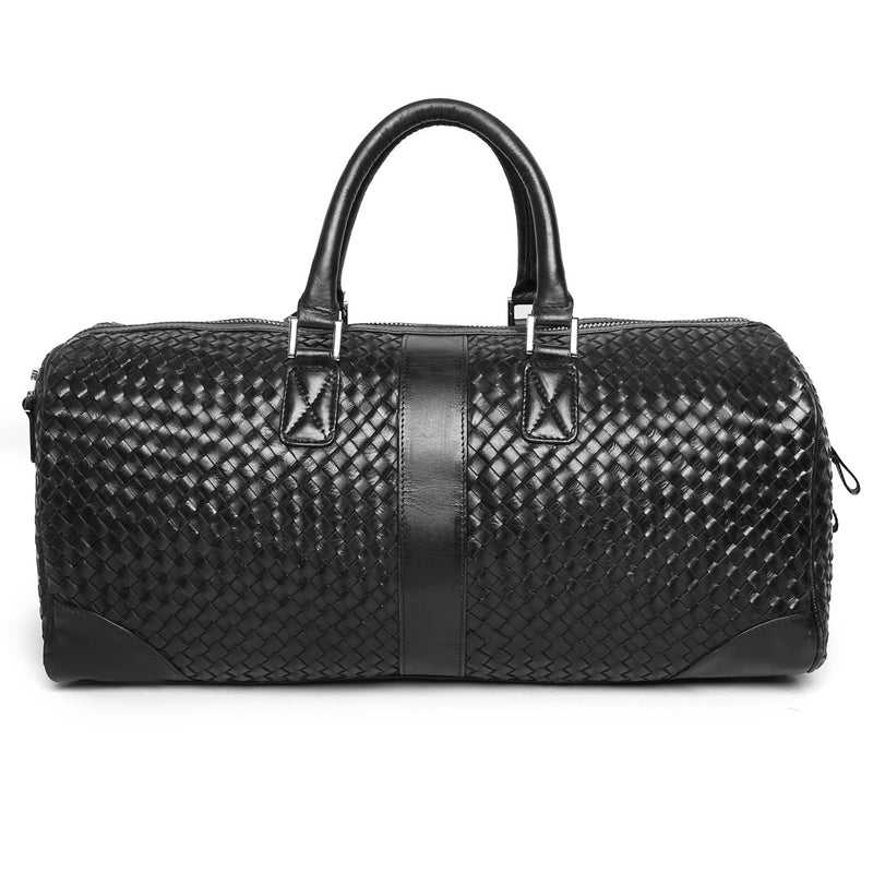 Brune Black Leather Woven Detailed Duffle Bag