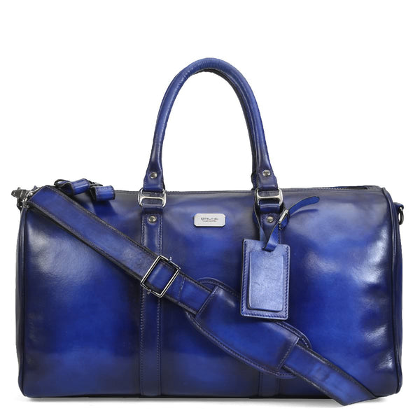 Royal Blue Hand Painted Leather Duffle Bag by Brune