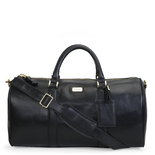 Brune Black Genuine Leather Duffle Bag