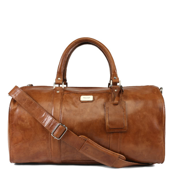 Brune Tan Dual Shade Leather Duffle Bag