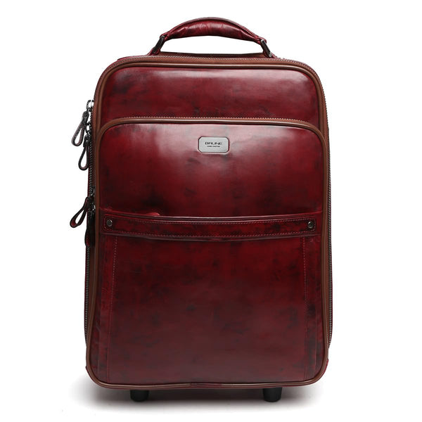 Brune Two-Tone Wine Hand Painted Leather Cabin Luggage