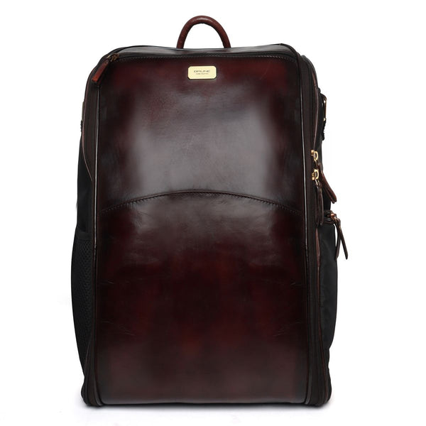 Dark Brown Leather Multi-Use Baby Traveler Bag By Brune