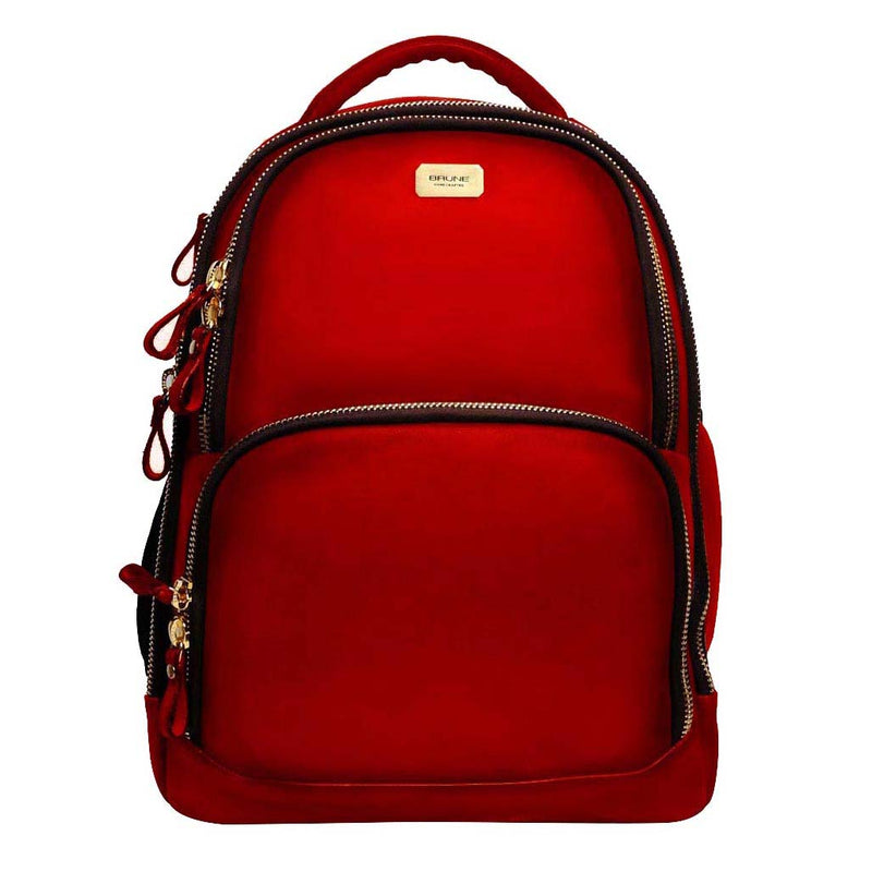 Red Leather Mod Look Laptop Backpack By Brune