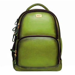 Olive Leather Mod Look Laptop Backpack By Brune