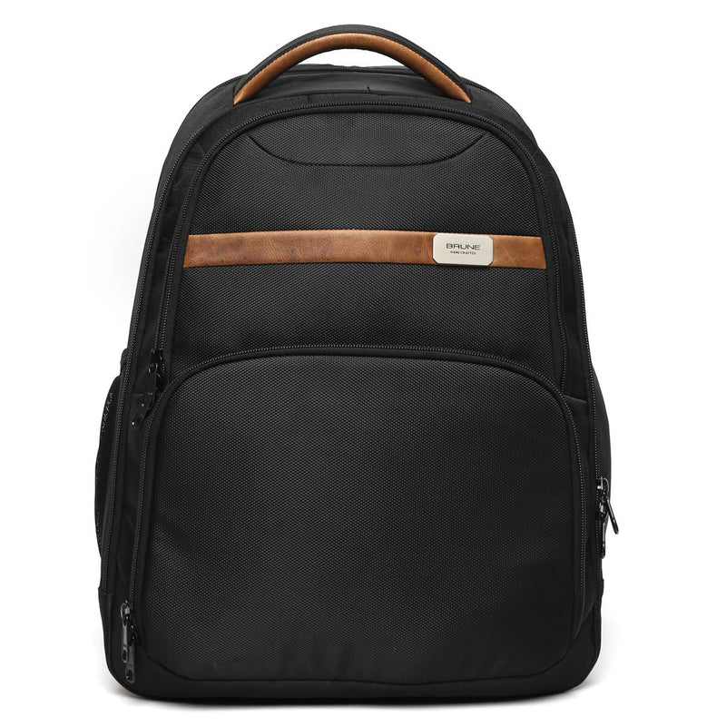 Brune Unisex Black Matte Tan Leather Detaining Laptop Backpack
