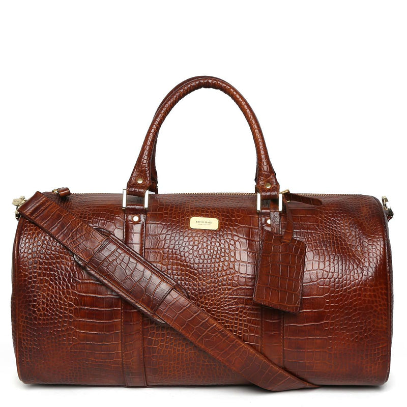 Tan Croco Print Leather Travel Duffle Bag by BRUNE