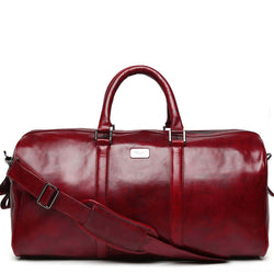 Wine Hand Painted Leather Travel Duffle Bag By Brune