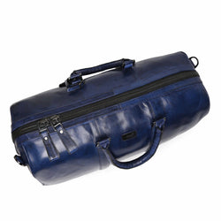 Blue Hand Painted Leather Travel Duffle Bag By Brune