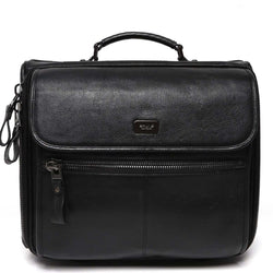 Brune Blackgenuine Leather With Thick Zip Strolley Bag / Cabin Luggage