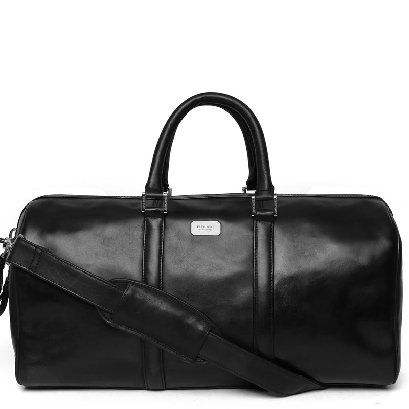 Black Leather Brune Duffle Bag in cabin luggage size with thick metal zip.