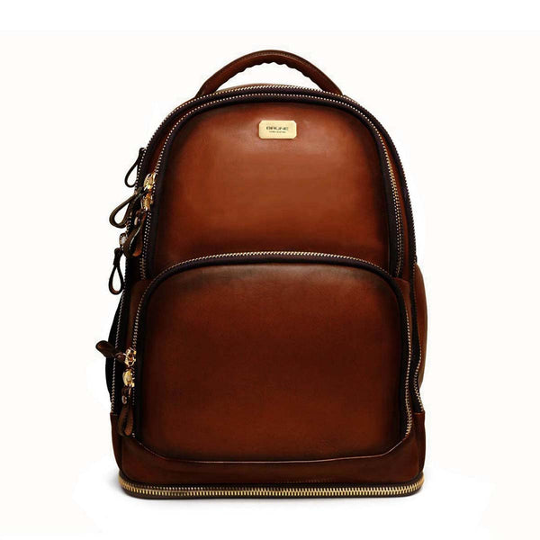 Dark Brown Concealed Compartment Leather Travel Backpack By Brune