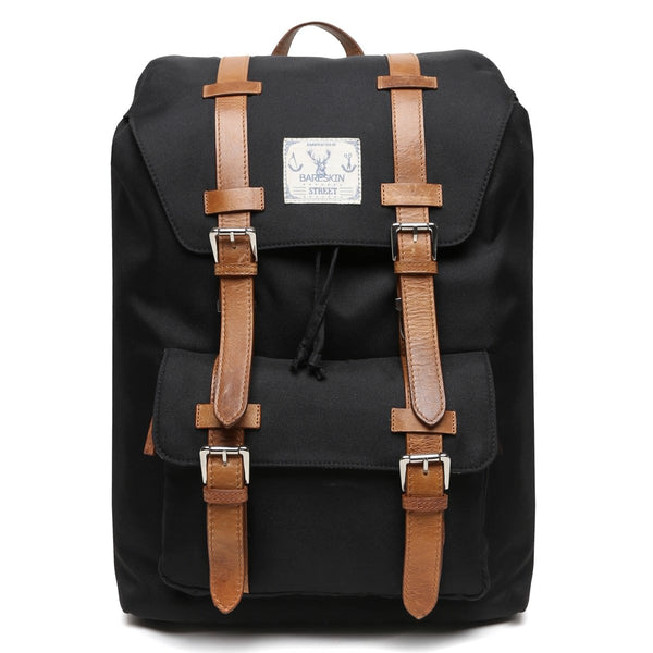 Tan Leather Straps/Black Danier Travel Backpack By Bareskin