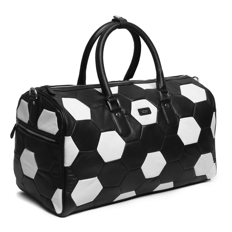 Black & White Soccer Inspired Leather Duffle Bag By BRUNE