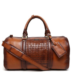 Tan Arrow Head Weave Detail Leather Duffle Bag By Brune