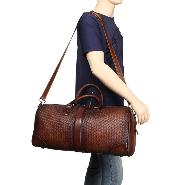 Dark Tan Full Weave Leather Duffle Bag By Brune