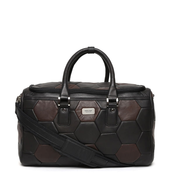 Brown-Black Soccer Inspired Leather Duffle Bag by BRUNE